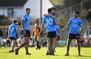12 December 2020; Dublin players, from left, Brian Sheehy, Darach McBride, Donal Leavy and Iain Ó Heither celebrate following their sides victory in the Bord Gais Energy Leinster Under 20 Hurling Championship Quarter-Final match between Offaly and Dublin at St Brendan's Park in Birr, Offaly. Photo by Sam Barnes/Sportsfile
