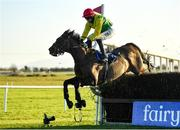 12 December 2020; Sizing Pottsie, with Paddy Kennedy up, jumps the last on their way to winning the Boylesports This Is Betting Handicap Steeplechase at Fairyhouse Racecourse in Ratoath, Meath. Photo by Seb Daly/Sportsfile