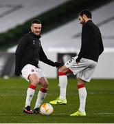 10 December 2020; Michael Duffy, left, and Jordan Flores of Dundalk ahead of the UEFA Europa League Group B match between Dundalk and Arsenal at the Aviva Stadium in Dublin. Photo by Ben McShane/Sportsfile