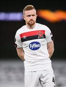 10 December 2020; Sean Hoare of Dundalk ahead of the UEFA Europa League Group B match between Dundalk and Arsenal at the Aviva Stadium in Dublin. Photo by Ben McShane/Sportsfile