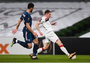 10 December 2020; David McMillan of Dundalk and Pablo Marí of Arsenal during the UEFA Europa League Group B match between Dundalk and Arsenal at the Aviva Stadium in Dublin. Photo by Ben McShane/Sportsfile