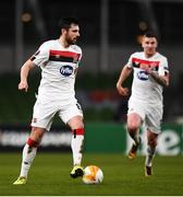 10 December 2020; Jordan Flores of Dundalk during the UEFA Europa League Group B match between Dundalk and Arsenal at the Aviva Stadium in Dublin. Photo by Ben McShane/Sportsfile