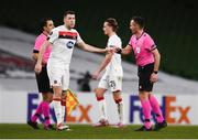 10 December 2020; Brian Gartland of Dundalk fist bumps referee Ivan Bebek following the UEFA Europa League Group B match between Dundalk and Arsenal at the Aviva Stadium in Dublin. Photo by Ben McShane/Sportsfile