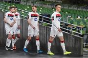 10 December 2020; Dundalk players, from left, Sean Hoare, Sean Gannon, Andy Boyle and Darragh Leahy walk out ahead of the UEFA Europa League Group B match between Dundalk and Arsenal at the Aviva Stadium in Dublin. Photo by Ben McShane/Sportsfile