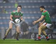 6 December 2020; Diarmuid O'Connor, left, and Chris Barrett of Mayo during the GAA Football All-Ireland Senior Championship Semi-Final match between Mayo and Tipperary at Croke Park in Dublin. Photo by Ray McManus/Sportsfile