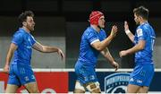 12 December 2020; Josh van der Flier celebrates with Leinster team-mates Hugo Keenan, left, and Ross Byrne, right, after scoring his side's first try during the Heineken Champions Cup Pool A Round 1 match between Montpellier and Leinster at the GGL Stadium in Montpellier, France. Photo by Harry Murphy/Sportsfile