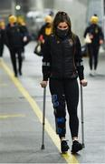 12 December 2020; Injured Kilkenny player Katie Power arrives prior to the Liberty Insurance All-Ireland Senior Camogie Championship Final match between Galway and Kilkenny at Croke Park in Dublin. Photo by Piaras Ó Mídheach/Sportsfile