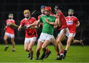 12 December 2020; Colin Coughlan of Limerick in action against from left Darragh Flynn, Shane O'Regan and Daire Connery of Cork during the Bord Gáis Energy Munster GAA Hurling U20 Championship Semi-Final match between Limerick and Cork at LIT Gaelic Grounds in Limerick. Photo by Matt Browne/Sportsfile