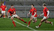 12 December 2020; Jack Crowley of Munster A offloads during the A Interprovincial Friendly between Ulster A and Munster A at Kingspan Stadium, Ravenhill Park, Belfast, Northern Ireland. Photo by John Dickson/Sportsfile