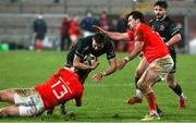 12 December 2020; Aaron Sexton of Ulster A is tackled by Alan Flannery of Munster A during the A Interprovincial Friendly between Ulster A and Munster A at Kingspan Stadium, Ravenhill Park, Belfast, Northern Ireland. Photo by John Dickson/Sportsfile