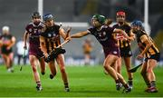 12 December 2020; Mary O'Connell of Kilkenny in action against Heather Cooney of Galway during the Liberty Insurance All-Ireland Senior Camogie Championship Final match between Galway and Kilkenny at Croke Park in Dublin. Photo by David Fitzgerald/Sportsfile