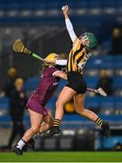 12 December 2020; Michelle Teehan of Kilkenny gathers possession ahead of Siobhán McGrath of Galway during the Liberty Insurance All-Ireland Senior Camogie Championship Final match between Galway and Kilkenny at Croke Park in Dublin. Photo by Piaras Ó Mídheach/Sportsfile