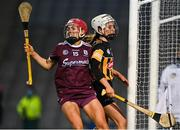 12 December 2020; Orlaith McGrath of Galway celebrates scoring her side's first goal as Davina Tobin of Kilkenny looks on during the Liberty Insurance All-Ireland Senior Camogie Championship Final match between Galway and Kilkenny at Croke Park in Dublin. Photo by Piaras Ó Mídheach/Sportsfile