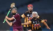 12 December 2020; Aoife Donohue of Galway in action against Meighan Farrell, and Kellyann Doyle, behind, of Kilkenny during the Liberty Insurance All-Ireland Senior Camogie Championship Final match between Galway and Kilkenny at Croke Park in Dublin. Photo by Piaras Ó Mídheach/Sportsfile