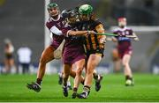 12 December 2020; Miriam Walsh of Kilkenny in action against Aoife Donohue of Galway during the Liberty Insurance All-Ireland Senior Camogie Championship Final match between Galway and Kilkenny at Croke Park in Dublin. Photo by David Fitzgerald/Sportsfile