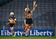 12 December 2020; Meighan Farrell of Kilkenny throws her hurl in the air in celebration at the final whistle after the Liberty Insurance All-Ireland Senior Camogie Championship Final match between Galway and Kilkenny at Croke Park in Dublin. Photo by Piaras Ó Mídheach/Sportsfile
