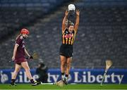 12 December 2020; Meighan Farrell of Kilkenny takes off her helmet as she celebrates at the final whistle after the Liberty Insurance All-Ireland Senior Camogie Championship Final match between Galway and Kilkenny at Croke Park in Dublin. Photo by Piaras Ó Mídheach/Sportsfile