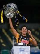 12 December 2020; Kilkenny captain Lucinda Gahan lifts the O'Duffy Cup after the Liberty Insurance All-Ireland Senior Camogie Championship Final match between Galway and Kilkenny at Croke Park in Dublin. Photo by Piaras Ó Mídheach/Sportsfile