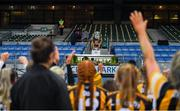 12 December 2020; Mary O'Connell of Kilkenny lifts the cup following the Liberty Insurance All-Ireland Senior Camogie Championship Final match between Galway and Kilkenny at Croke Park in Dublin. Photo by David Fitzgerald/Sportsfile