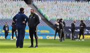 13 December 2020; Antrim manager Darren Gleeson, left, and Kerry selector Brendan Cummins in conversation prior to the Joe McDonagh Cup Final match between Kerry and Antrim at Croke Park in Dublin. Photo by Brendan Moran/Sportsfile