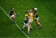 13 December 2020; James McNaughton of Antrim in action against Kerry players, from left, Shane Conway, Daniel Collins, and Fionan Mackessy during the Joe McDonagh Cup Final match between Kerry and Antrim at Croke Park in Dublin. Photo by Daire Brennan/Sportsfile