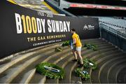 13 December 2020; Antrim captain Conor McCann places a wreath at the Bloody Sunday shrine following the Joe McDonagh Cup Final match between Kerry and Antrim at Croke Park in Dublin. Photo by Ray McManus/Sportsfile
