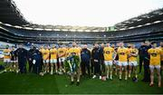 13 December 2020; Antrim captain Conor McCann places a wreath in honour of Bloody Sunday following the Joe McDonagh Cup Final match between Kerry and Antrim at Croke Park in Dublin. Photo by David Fitzgerald/Sportsfile