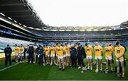 13 December 2020; Antrim players stand for a moment of silence in honour of Bloody Sunday following the Joe McDonagh Cup Final match between Kerry and Antrim at Croke Park in Dublin. Photo by David Fitzgerald/Sportsfile