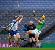13 December 2020; Tom Morrissey of Limerick in action against Jamie Barron of Waterford during the GAA Hurling All-Ireland Senior Championship Final match between Limerick and Waterford at Croke Park in Dublin. Photo by Brendan Moran/Sportsfile