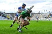 13 December 2020; Aaron Gillane of Limerick is tackled by Conor Prunty of Waterford during the GAA Hurling All-Ireland Senior Championship Final match between Limerick and Waterford at Croke Park in Dublin. Photo by Piaras Ó Mídheach/Sportsfile