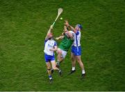 13 December 2020; Aaron Gillane of Limerick in action against Tadhg De Búrca, left, and Conor Prunty of Waterford during the GAA Hurling All-Ireland Senior Championship Final match between Limerick and Waterford at Croke Park in Dublin. Photo by Daire Brennan/Sportsfile