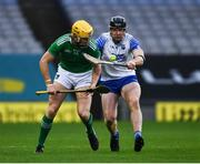 13 December 2020; Séamus Flanagan of Limerick in action against Kevin Moran of Waterford during the GAA Hurling All-Ireland Senior Championship Final match between Limerick and Waterford at Croke Park in Dublin. Photo by Ray McManus/Sportsfile