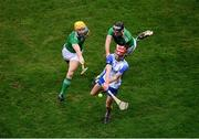 13 December 2020; Calum Lyons of Waterford in action against Séamus Flanagan, left, and Gearóid Hegarty of Limerick during the GAA Hurling All-Ireland Senior Championship Final match between Limerick and Waterford at Croke Park in Dublin. Photo by Daire Brennan/Sportsfile