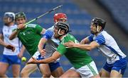 13 December 2020; Darragh O'Donovan of Limerick in action against Jack Prendergast and Jamie Barron of Waterford during the GAA Hurling All-Ireland Senior Championship Final match between Limerick and Waterford at Croke Park in Dublin. Photo by Brendan Moran/Sportsfile