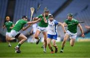 13 December 2020; Jamie Barron of Waterford in action against Limerick players, from left, Diarmaid Byrnes, Gearóid Hegarty and William O'Donoghue during the GAA Hurling All-Ireland Senior Championship Final match between Limerick and Waterford at Croke Park in Dublin. Photo by Stephen McCarthy/Sportsfile
