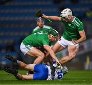 13 December 2020; Jack Fagan of Waterford in action against Seán Finn, left, and Kyle Hayes of Limerick during the GAA Hurling All-Ireland Senior Championship Final match between Limerick and Waterford at Croke Park in Dublin. Photo by Ray McManus/Sportsfile