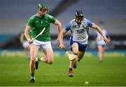 13 December 2020; William O'Donoghue of Limerick in action against Jamie Barron of Waterford during the GAA Hurling All-Ireland Senior Championship Final match between Limerick and Waterford at Croke Park in Dublin. Photo by Stephen McCarthy/Sportsfile