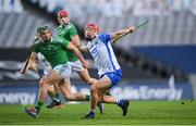 13 December 2020; Jack Prendergast of Waterford in action against Seán Finn of Limerick during the GAA Hurling All-Ireland Senior Championship Final match between Limerick and Waterford at Croke Park in Dublin. Photo by Stephen McCarthy/Sportsfile