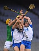 13 December 2020; Iarlaith Daly, right, of Waterford catches the sliotar ahead of team-mate Conor Prunty and Tom Morrissey of Limerick during the GAA Hurling All-Ireland Senior Championship Final match between Limerick and Waterford at Croke Park in Dublin. Photo by Brendan Moran/Sportsfile