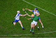 13 December 2020; Shane McNulty, left, and Conor Prunty of Waterford in action against Séamus Flanagan, left, and Aaron Gillane of Limerick during the GAA Hurling All-Ireland Senior Championship Final match between Limerick and Waterford at Croke Park in Dublin. Photo by Daire Brennan/Sportsfile