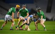 13 December 2020; Jamie Barron of Waterford in action against Limerick players, from left, Tom Morrissey, Darragh O'Donovan and Graeme Mulcahy during the GAA Hurling All-Ireland Senior Championship Final match between Limerick and Waterford at Croke Park in Dublin. Photo by Stephen McCarthy/Sportsfile