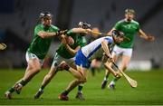 13 December 2020; Jamie Barron of Waterford in action against Darragh O'Donovan, left, and Graeme Mulcahy of Limerick during the GAA Hurling All-Ireland Senior Championship Final match between Limerick and Waterford at Croke Park in Dublin. Photo by Stephen McCarthy/Sportsfile