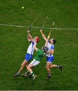 13 December 2020; Calum Lyons, left, and Ian Kenny of Waterford in action against Graeme Mulcahy of Limerick during the GAA Hurling All-Ireland Senior Championship Final match between Limerick and Waterford at Croke Park in Dublin. Photo by Daire Brennan/Sportsfile