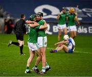 13 December 2020; William O'Donoghue and Gearóid Hegarty of Limerick after the GAA Hurling All-Ireland Senior Championship Final match between Limerick and Waterford at Croke Park in Dublin. Photo by Ray McManus/Sportsfile