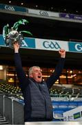 13 December 2020; Limerick manager John Kiely lifts the Liam MacCarthy Cup following the GAA Hurling All-Ireland Senior Championship Final match between Limerick and Waterford at Croke Park in Dublin. Photo by Ray McManus/Sportsfile