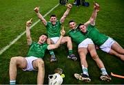 13 December 2020; Limerick players, from left, Kyle Hayes, Diarmaid Byrnes, Gearóid Hegarty and Darragh O'Donovan celebrate following the GAA Hurling All-Ireland Senior Championship Final match between Limerick and Waterford at Croke Park in Dublin. Photo by David Fitzgerald/Sportsfile