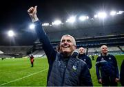 13 December 2020; Limerick manager John Kiely celebrates following the GAA Hurling All-Ireland Senior Championship Final match between Limerick and Waterford at Croke Park in Dublin. Photo by David Fitzgerald/Sportsfile