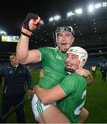 13 December 2020; Darragh O'Donovan, left, and Pat Ryan of Limerick following the GAA Hurling All-Ireland Senior Championship Final match between Limerick and Waterford at Croke Park in Dublin. Photo by Stephen McCarthy/Sportsfile