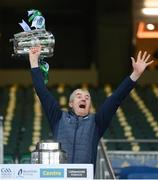 13 December 2020; Limerick manager John Kiely lifts the Liam MacCarthy cup following the GAA Hurling All-Ireland Senior Championship Final match between Limerick and Waterford at Croke Park in Dublin. Photo by Stephen McCarthy/Sportsfile