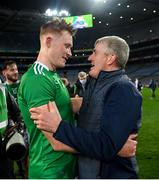 13 December 2020; Limerick manager John Kiely and William O'Donoghue following the GAA Hurling All-Ireland Senior Championship Final match between Limerick and Waterford at Croke Park in Dublin. Photo by Ramsey Cardy/Sportsfile